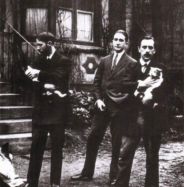 Jacques Villon, Marcel Duchamp, and Raymond Duchamp-Villon and their cats
