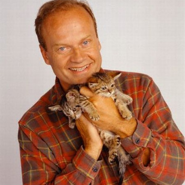 Kelsey Grammer Holding Two Gray Kittens